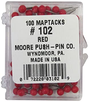 moore push pin map tacks red 100 tacks per pack