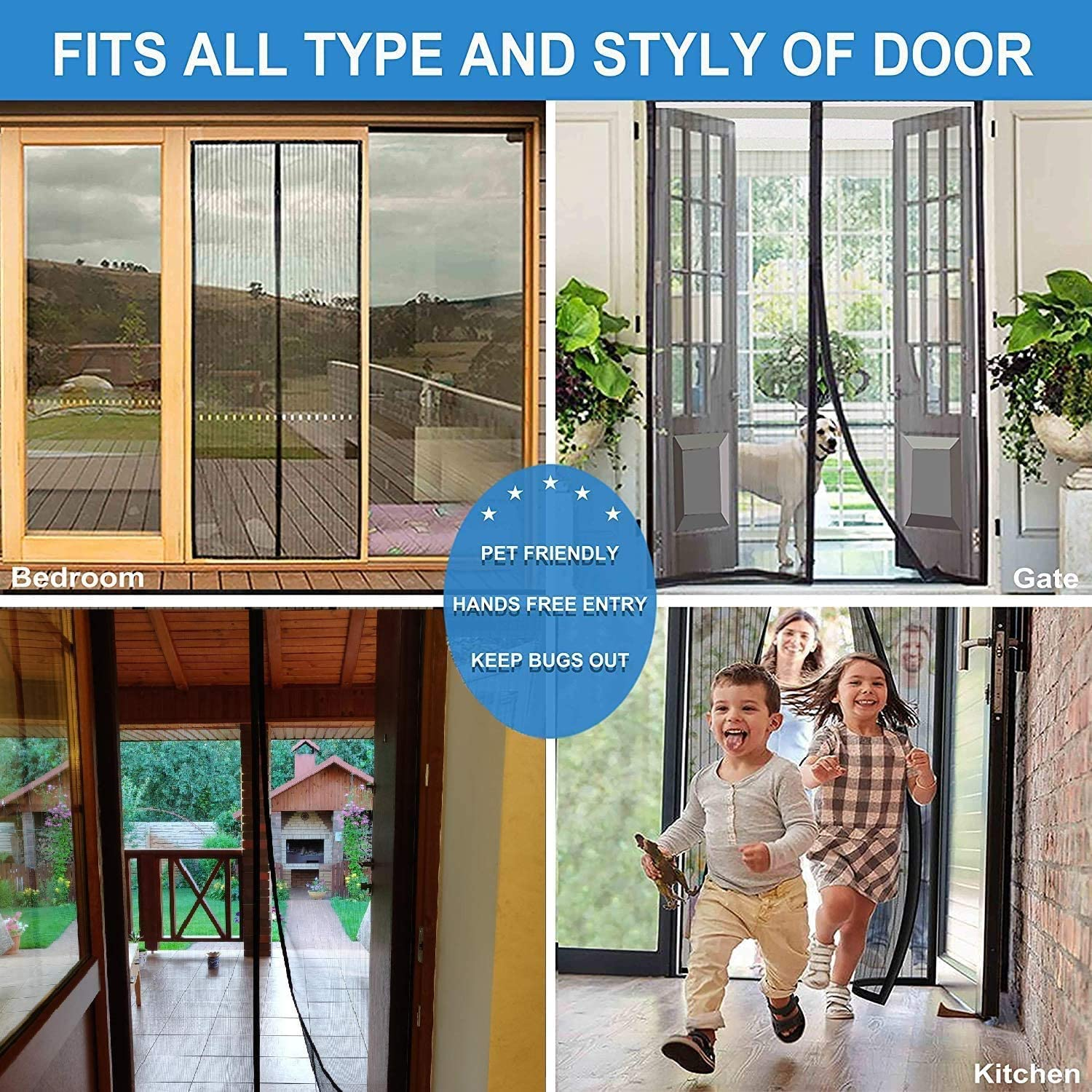 Ciujoy Magnetic Fly Screen Door Keep Insects Out Door Screent 85 X 200CM,No Drilling Required,Magnetic Door Curtains Automatically Close When in and Out for Keep Fresh Air in and Anti Mosquito
