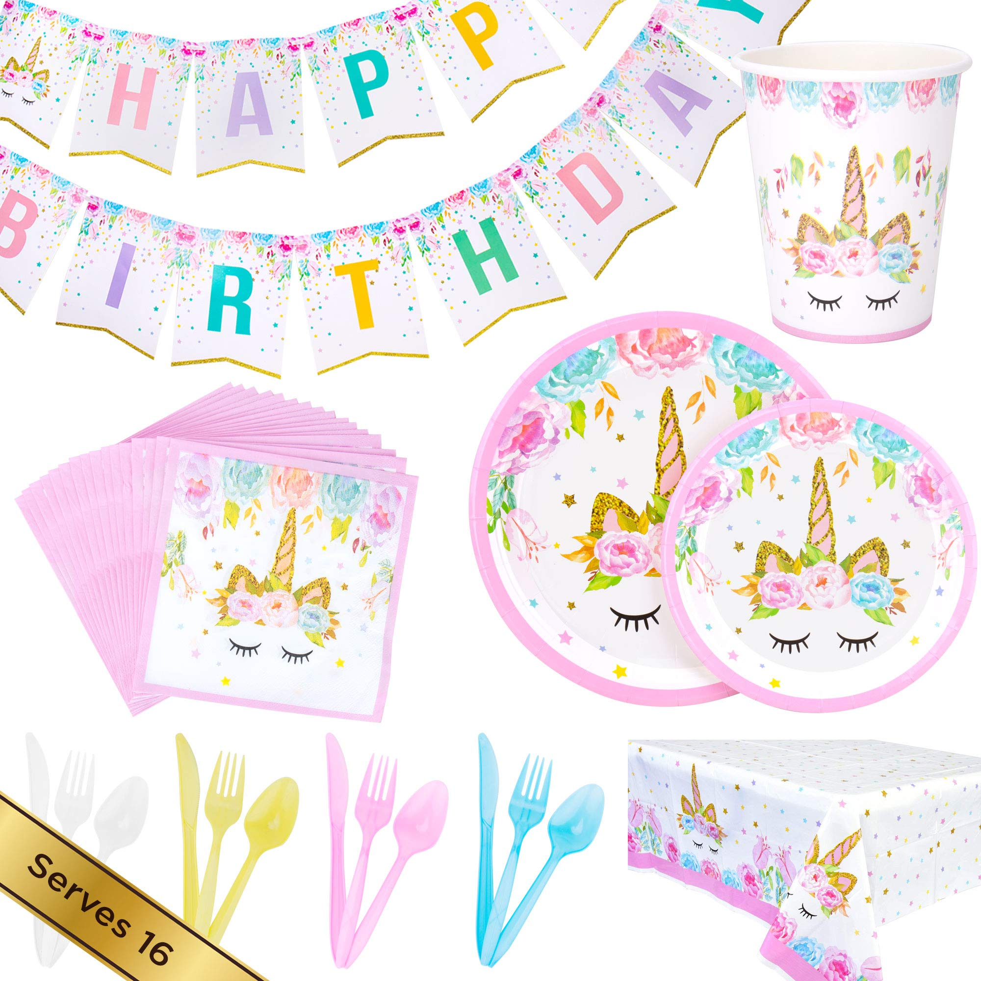 Details About Unicorn Birthday Party Supplies Set For Girls Gorgeous Pink Gold Plates Cups
