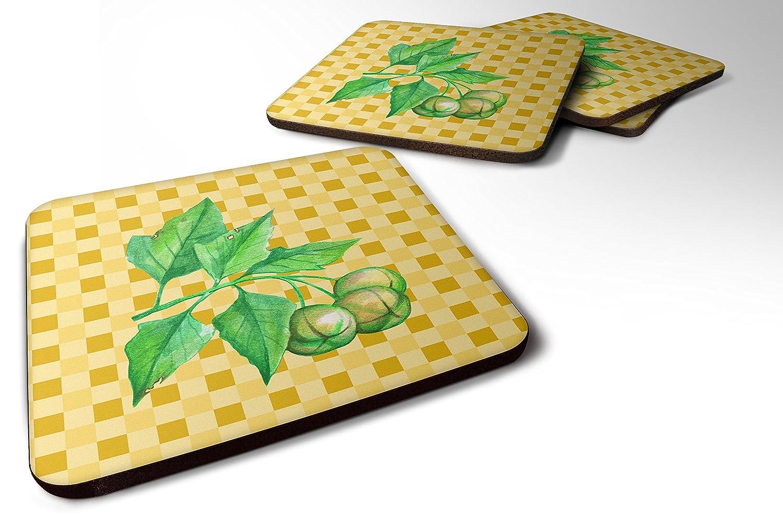 Caroline 's Treasures bb7188fcのセット4 Candlenut on Basketweave Foamコースターのセット4、3 1 / 2 x 3 1 / 2、マルチカラー   B071DWQH6F