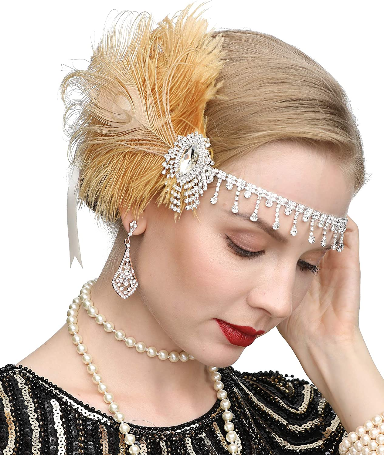 Art Deco 1920s Flapper Headpiece Roaring Gatsby Headpiece With Peacock Feather Headband 1920s Flapper Gatsby Accessories