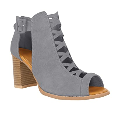a464fcb0bd3 Womens Cutout Open Toe Sandals Chunky Block High Heel Lace Up Booties Grey