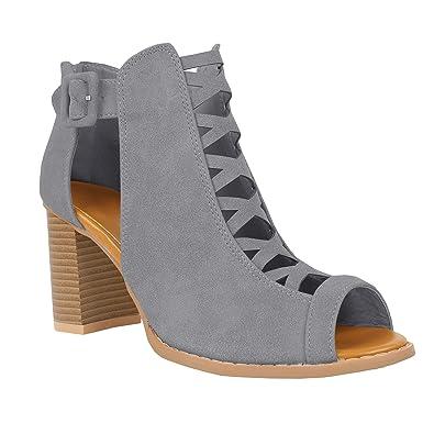 9e3e8cf73e Womens Cutout Open Toe Sandals Chunky Block High Heel Lace Up Booties Grey