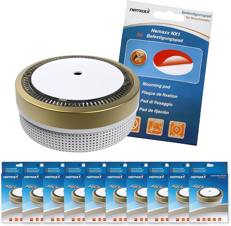 Gold sensibler photoelektrischer Rauchwarnmelder mit Lithiumbatterie Typ DC3V nach DIN EN14604 /& VDs Nemaxx M1-Mini Rauchmelder NX1 Befestigungspad