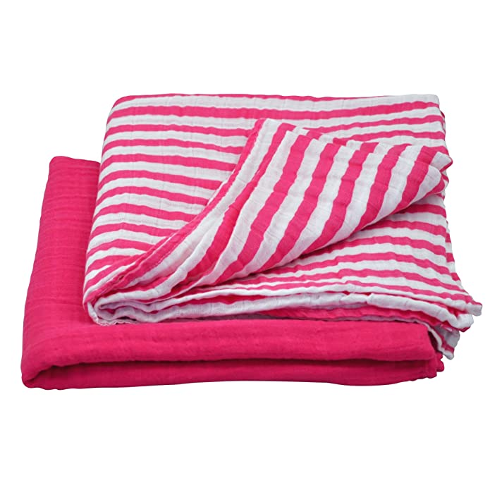 green sprouts Muslin Swaddle Blanket made from Organic Cotton-Hot Pink Set-44u0022 x 44u0022