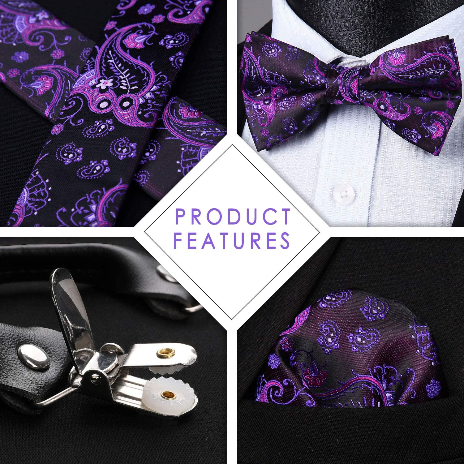 HISDERN Floral 6 Clips Suspenders /& Pre Tie Bow Tie and Pocket Square Set Y Shape Adjustable Braces