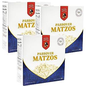 Matzo Passover Matzah Israeli Kosher For Passover King David Matzos One Pound Box (1 LB Box) (3-Pack)