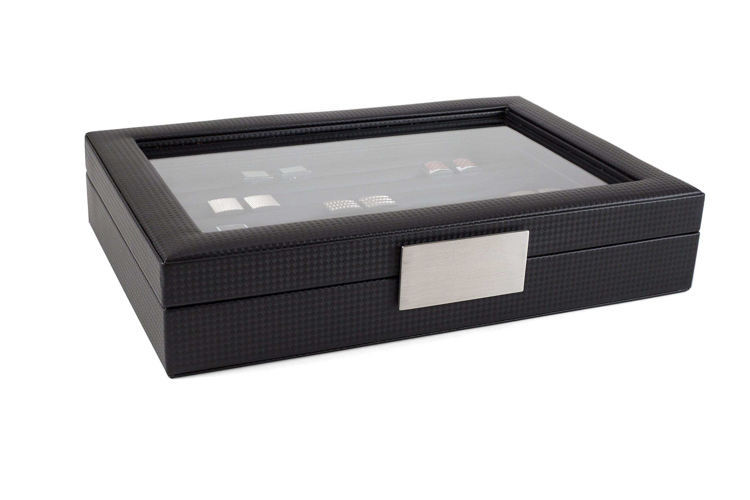 Glenor Co Cufflink Box for Men - Holds 70 Cufflinks - Luxury Display Jewelry Case -Carbon Fiber Design - Metal Buckle Holder, Large Glass Top - Black by Glenor Co (Image #4)