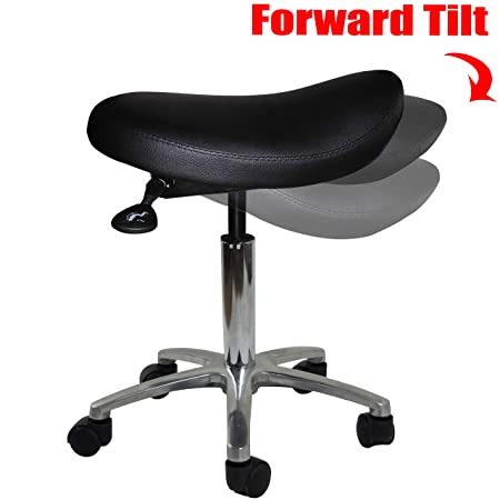 2xhome – Adjustable Saddle Stool Chair with Forward Tilting Seat for Clinic Hospital Pharmacy Medical Beauty Lab Exam Office Technician Physical Occupational Therapy Physician
