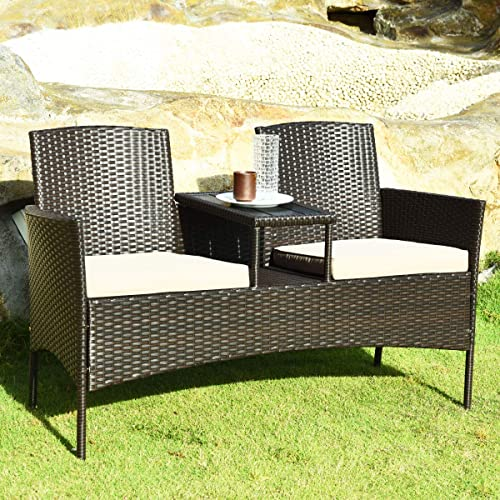 Tangkula Outdoor Rattan Loveseat