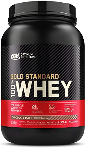Optimum Nutrition Gold Standard 100 Whey Protein Powder, Chocolate Malt, 2 Pound Packaging May Vary