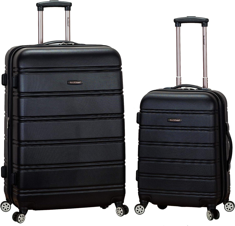 Rockland Melbourne Hardside Expandable Spinner Wheel Luggage, Black, 2-Piece Set (20/28)