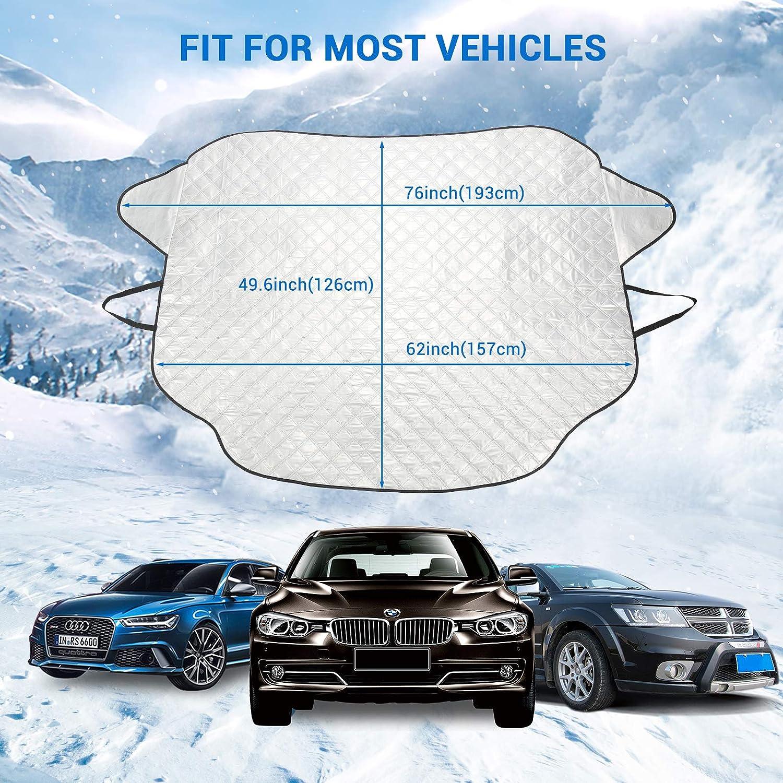 REACH AUTO PARTS Windschutzscheibe Schneedecke Auto Windschutzscheibe Schnee Eis Abdeckung mit 3 Magnet und 4 Schichten Frostschutz Winterabdeckung f/ür Eis und Schnee