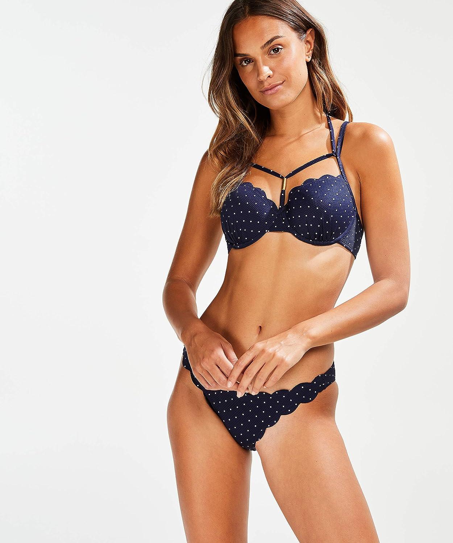 HUNKEM/ÖLLER Damen Rio Bikini-Slip mit tiefem Sitz Scallop Bloom