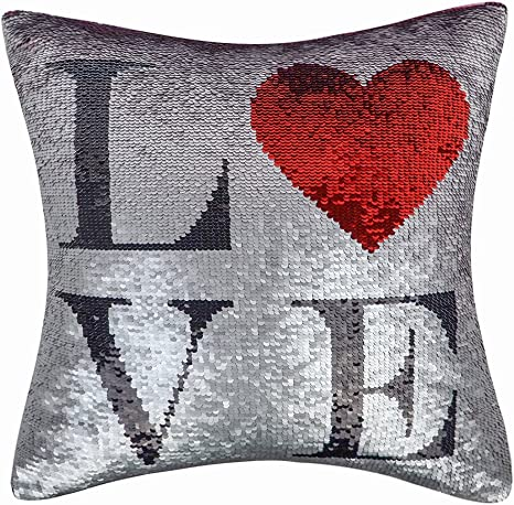 Amazon Com Oiseauvoler Red Heart Reversible Sequins Cushion Covers Love Letter Decorative Throw Pillow Cases Romantic Themed For Sofa Bedroom Decor 16 X 16 Inch Home Kitchen