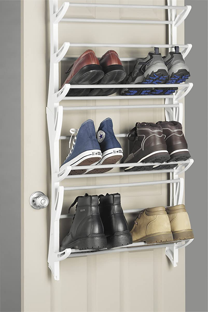 Whitmor Over The Door Rack-36 Fold Up Non Slip Bars Shoe Rack, 36-Pair, White