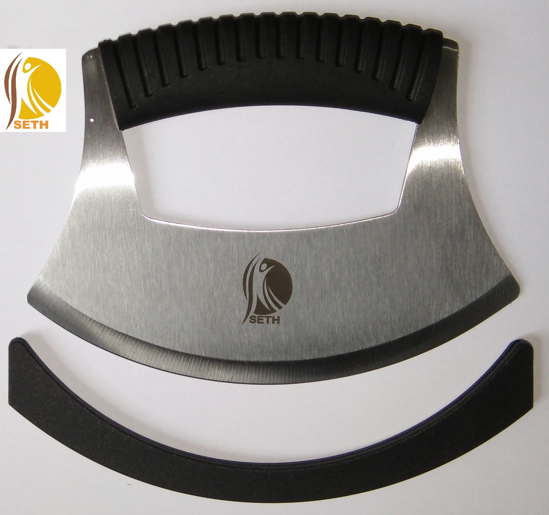 Pizza Cutter|Mezzaluna Chopper|Mincing Knife|Pie Cutter Slicer|Brownie Cutter|Rocker Slicer Stainless Steel Blade as Mezzaluna Chef Knife Fruit Vegetable Salad Chopper with Protective Cover.