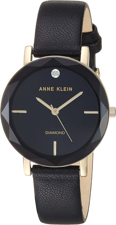 Anne Klein Women s Genuine Diamond Dial Leather Strap Watch