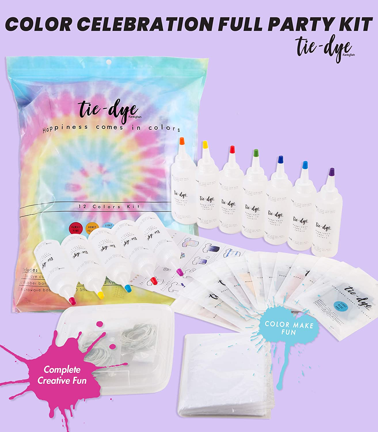 Fabric dye for Clothes with All Essentials Included Safe and Easy to use. 12 Color Party Tie Dye Kit Perfect Tie Dye Set with All tie dye Techniques and Inspiration