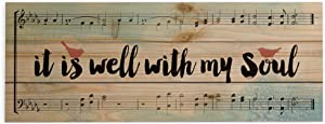 P. Graham Dunn It is Well with My Soul Sheet Music and Birds 5 x 12 Wood Plank Design Wall Box Sign