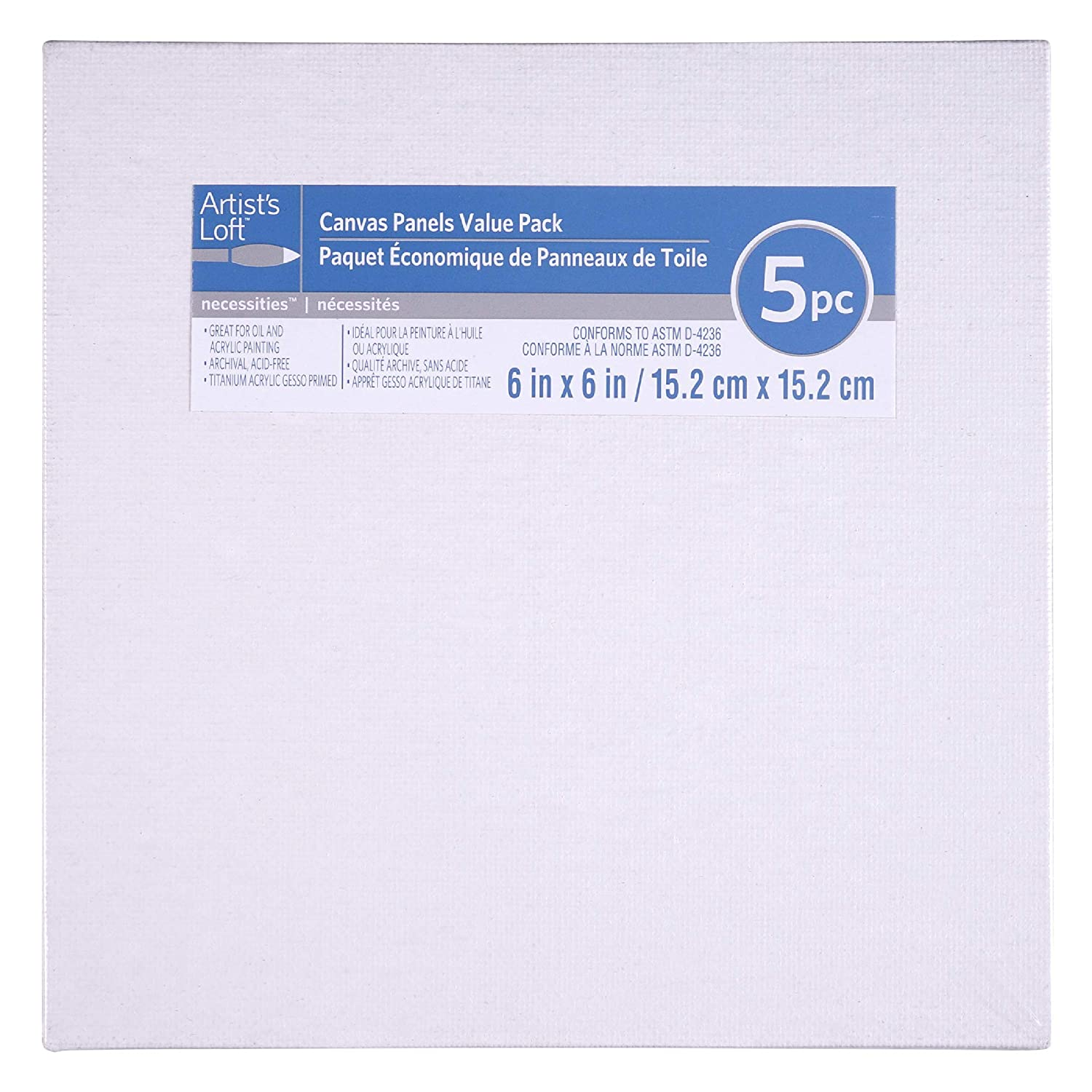 5 Pack 6 x 6 Value Canvas Panel by Artists Loft