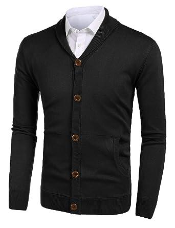 1ac241c1b94f Misakia Mens Casual Slim Fit Cardigans Shawl Collar Button Down ...