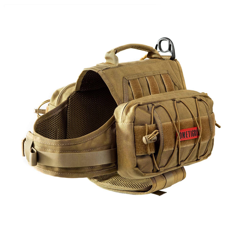 OneTigris Dog Pack Hound Travel Camping Hiking Backpack Saddle Bag Rucksack for Medium & Large Dog (Coyote Brown Advanced Version for Medium Dog - 1000D Nylon) by OneTigris