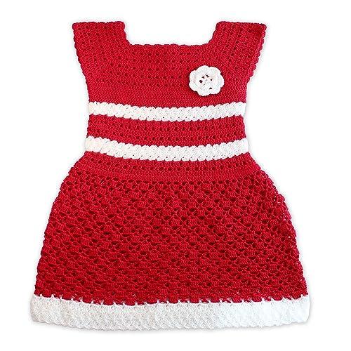 Vestido de niña, color rojo y blanco.: Amazon.es: Handmade