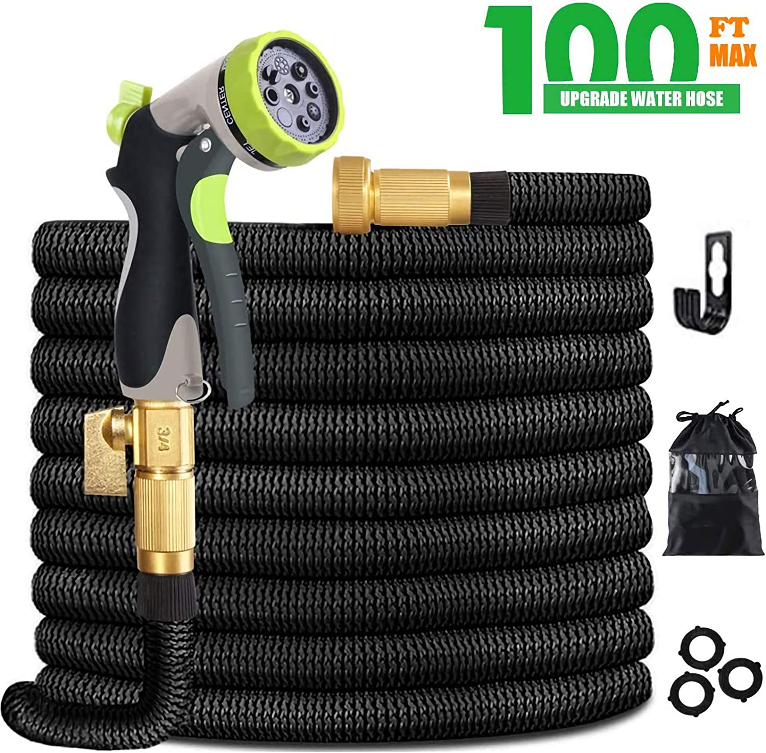 JAJ 100 ft Expandable Garden Hose Set Retractable Lightweight Durable Flexible Water Hose with 3/4 Nozzle Solid Valve and High Pressure Water Spray Nozzle Hoses : Garden & Outdoor