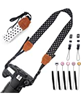 2 Pack Camera Neck Strap Vintage for Women(Black & White) + 5 Pack Cute Lens Cap Keeper, Konsait Camera Neck Straps Camera Shoulder Neck Strap Belt for Fujifilm Instax Mini,Polaroid Instant Camera