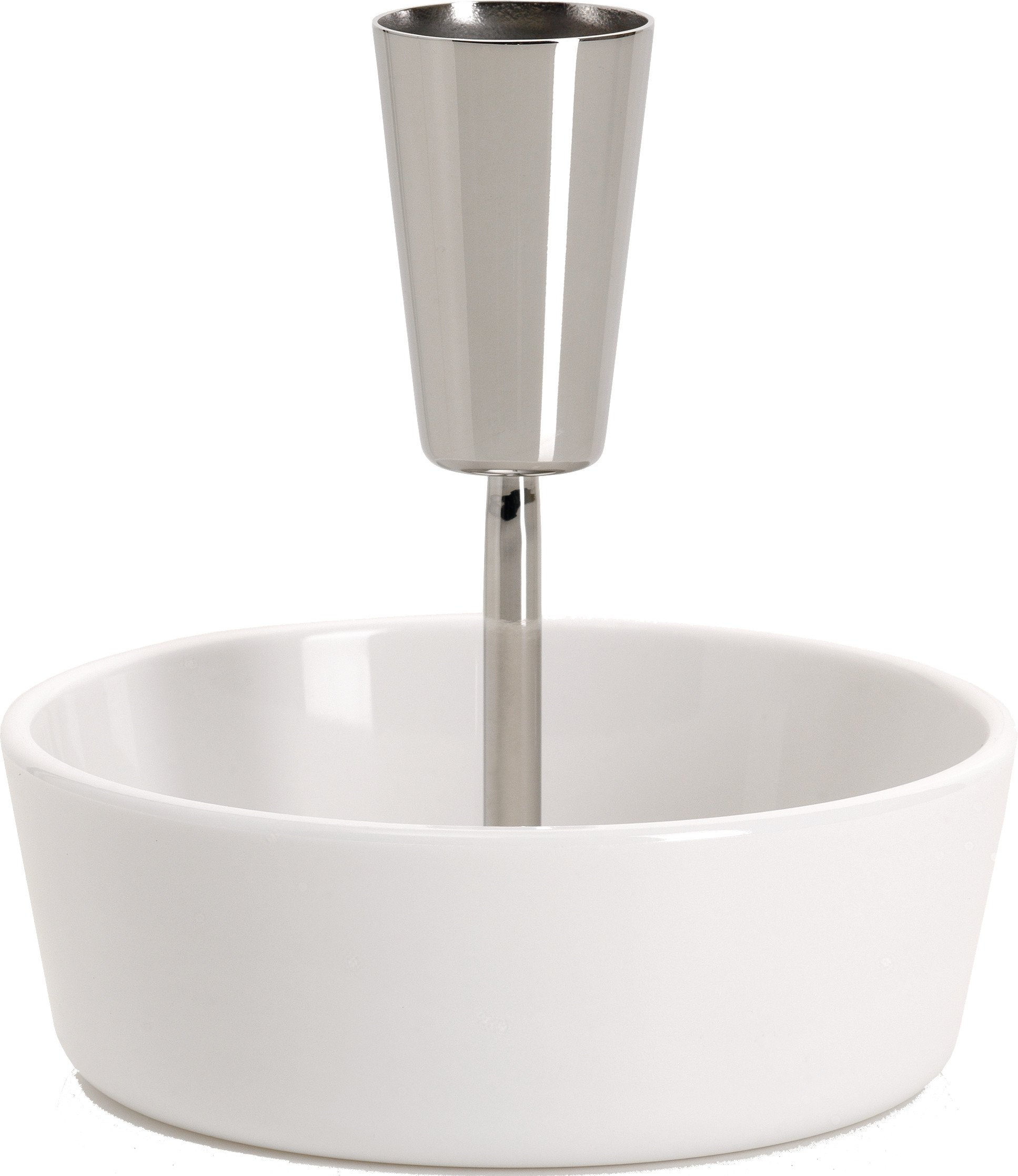 Alessi ''Ape'' Bowl For Olives in Thermoplastic Resin With Toothpick Holder in 18/10 Stainless Steel Mirror Polished, White by Alessi