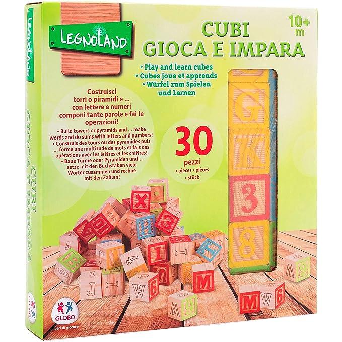Legnoland - Cubos, Letras, números y símbolos de Madera, 30 Piezas (Globo 37843): Amazon.es: Juguetes y juegos