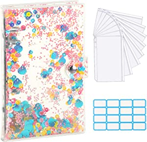 Housolution A6 Binder Cover, Clear PVC 6 Ring Notebook Binder Refillable Binder Cover with Sequins & 8 PCS Binder Envelope Pockets & Self-Adhesive Label, Clear Glitter Pink