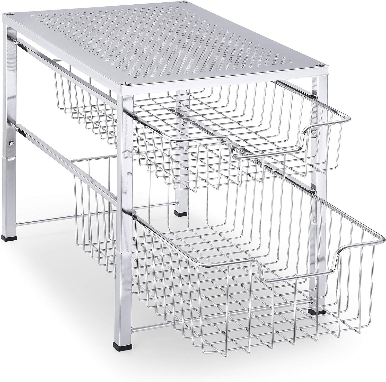 Simple Trending Organizador de 2 niveles para debajo del fregadero con cajón de almacenamiento deslizante, organizador de escritorio para cocina, baño, oficina, apilable, cromado: Amazon.es: Hogar