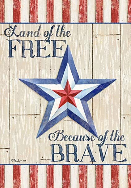 Amazon Com Land Of The Free Because Of The Brave Americana Double Sided Garden Size Decorative Flag 12 X 18 Inches Garden Outdoor