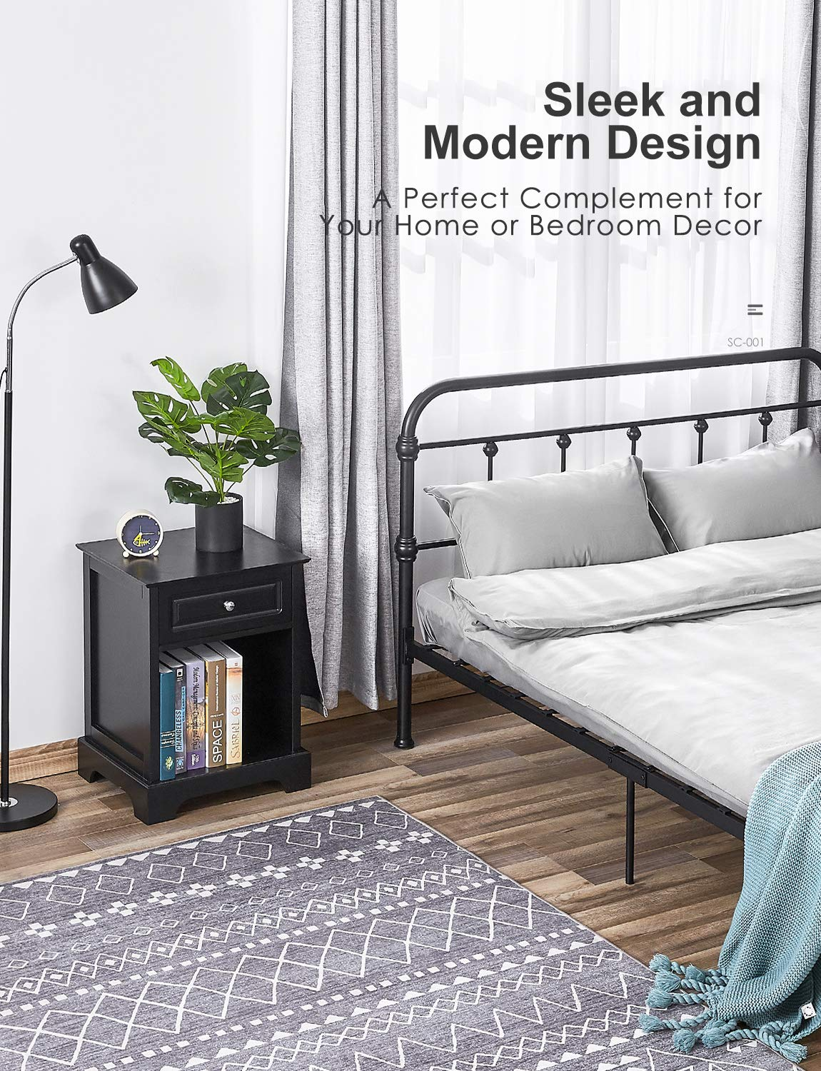Wood Metal 18″ Industrial End Table, Kealive Bedside Nightstand Side Table for Living Room, Multi-use and Toolless Assembly, Accent Tables with Stable Metal Frame, Wooden Grey, 18.2 x 15 x 15.7 in