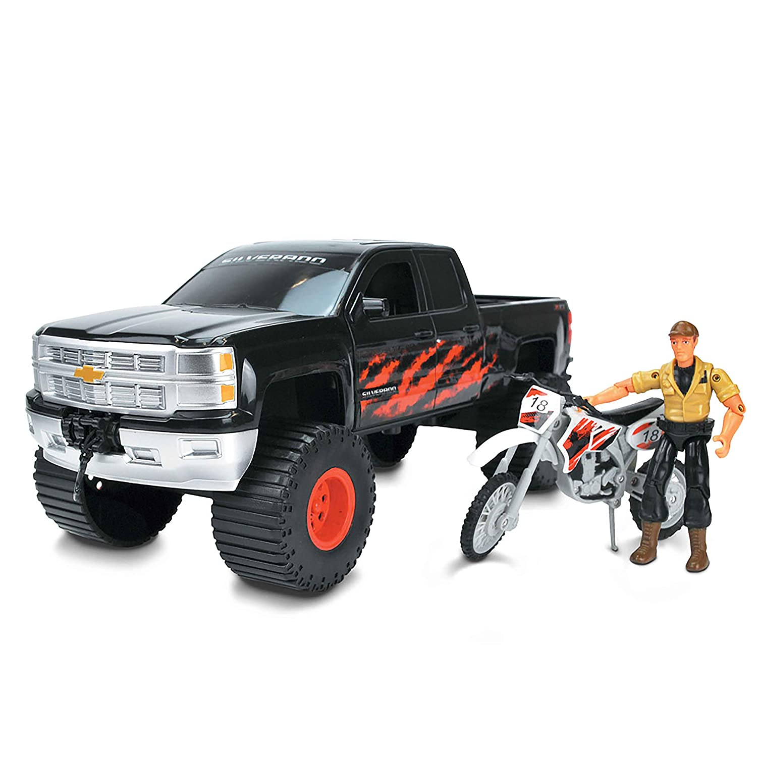 14.75 x 7 Black and Red Tree House Kids Chevy with Bike Play Set Truck Bike Figure