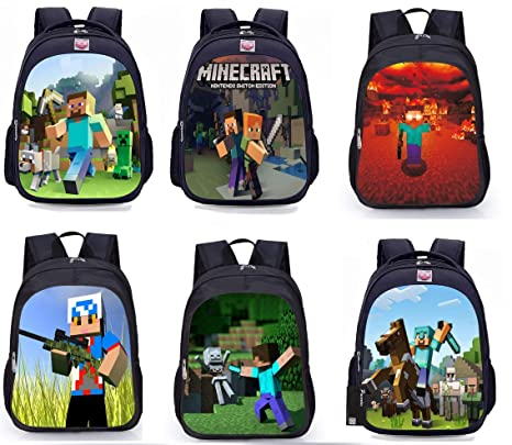 a2080e7feb55 Student Minecraft Cartoon Backpack Boy Cartoon School Bags Hot Primary Backpack  School Bags for Boys and Girl Mochila Sac A Dos (ver1)  Amazon.ca  Luggage    ...