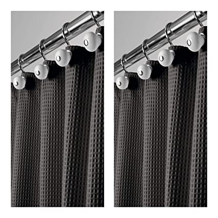 MDesign Hotel Quality Polyester Cotton Blend Fabric Shower Curtain Waffle Weave Rustproof Metal Grommets Bathroom
