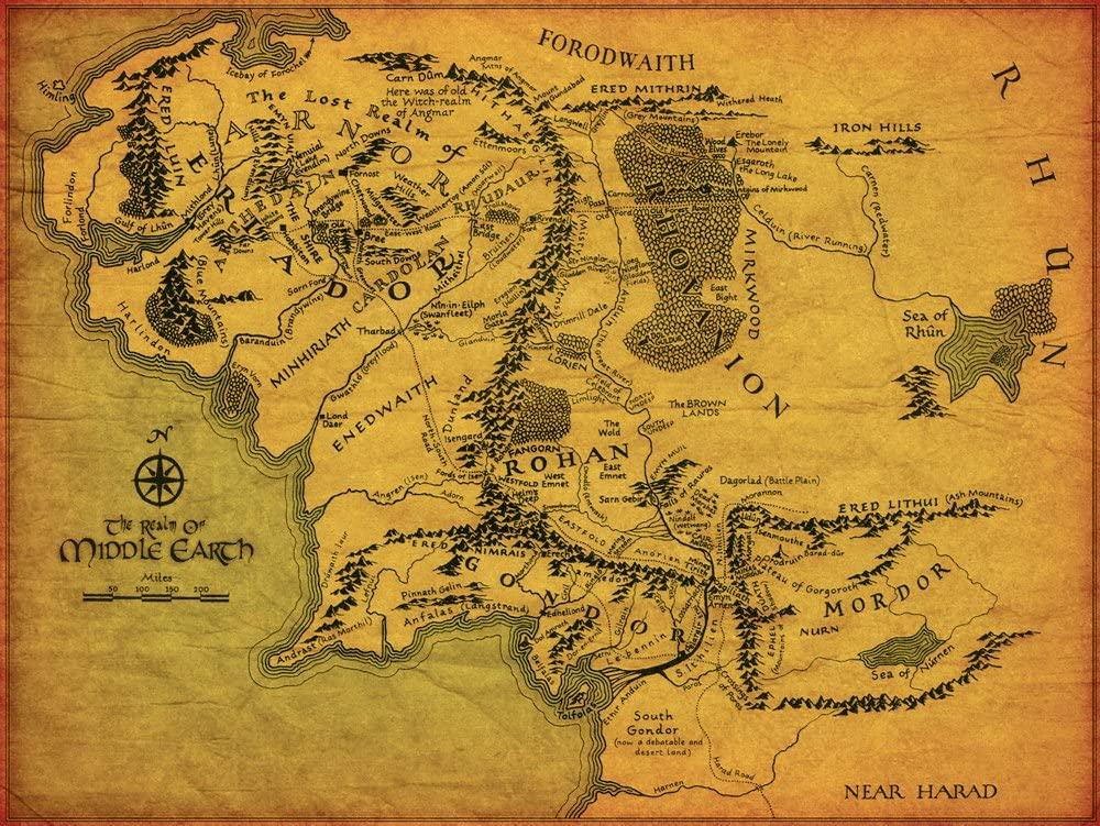 Lord Of The Rings Middle Earth Map BDP Movies The Lord Of The Rings Middle Earth Map Giant XL Thick