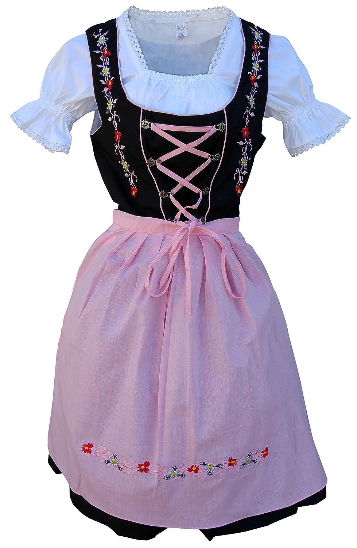 on sale 52a4f 9520d Di06ps Mini Dirndl, 3 teiliges Trachtenkleid schwarz pink ...