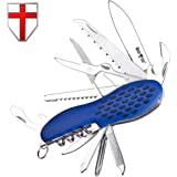 Swiss Army Knife Multi Function - Compact Blue Multi Purpose Folding Pocket Knife Mini Utility Tool - Original Style Knife Classic Blade, Can Opener, Saw - Grand Way 8060 BU-P