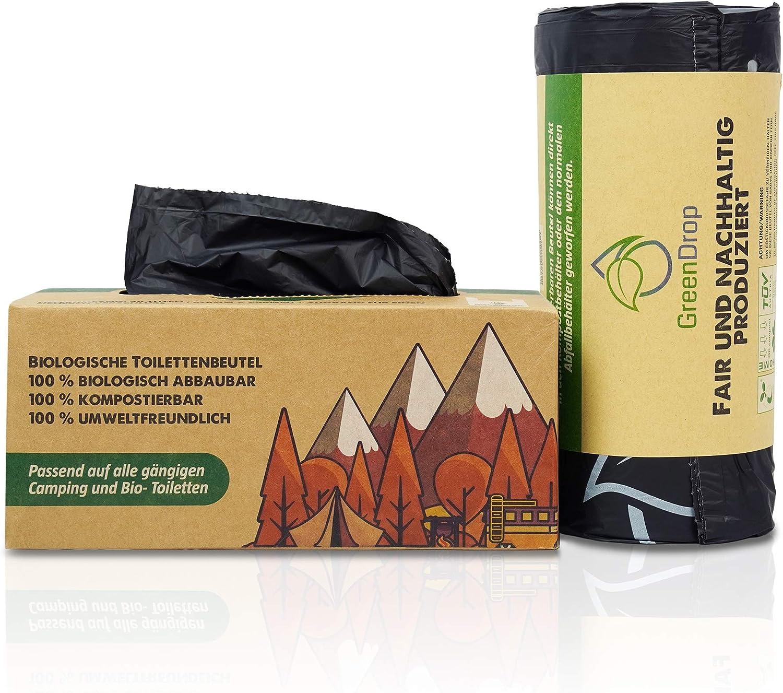 Green Drop Bolsa de aseo para camping, 40 unidades, edición limitada para inodoros de camping, biotecnología y baños móviles