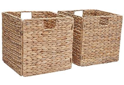 Hand Woven Storage Baskets With Iron Wire Frame, Foldable Hyacinth Storage  Bins By StorageWorks
