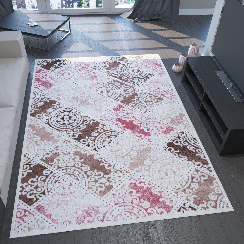 VIMODA Designer Teppich, Sehr Edel und Modern, 3D Effekt und Lurex, Karo Muster, Rosa Braun Creme, Naturfreundlich, Maße 240 x 340 cm