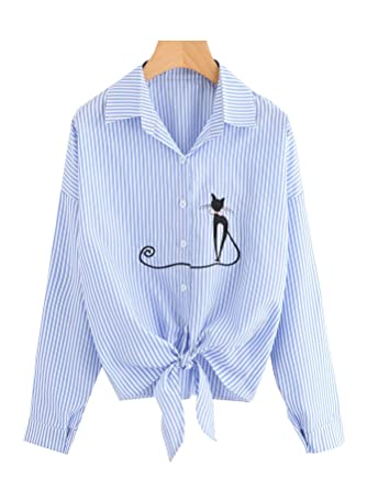 39b99a20e90e6 Womens Tie Front Knot Tops Shirts Cat Button-Down T-Shirt Cute Blouse Short