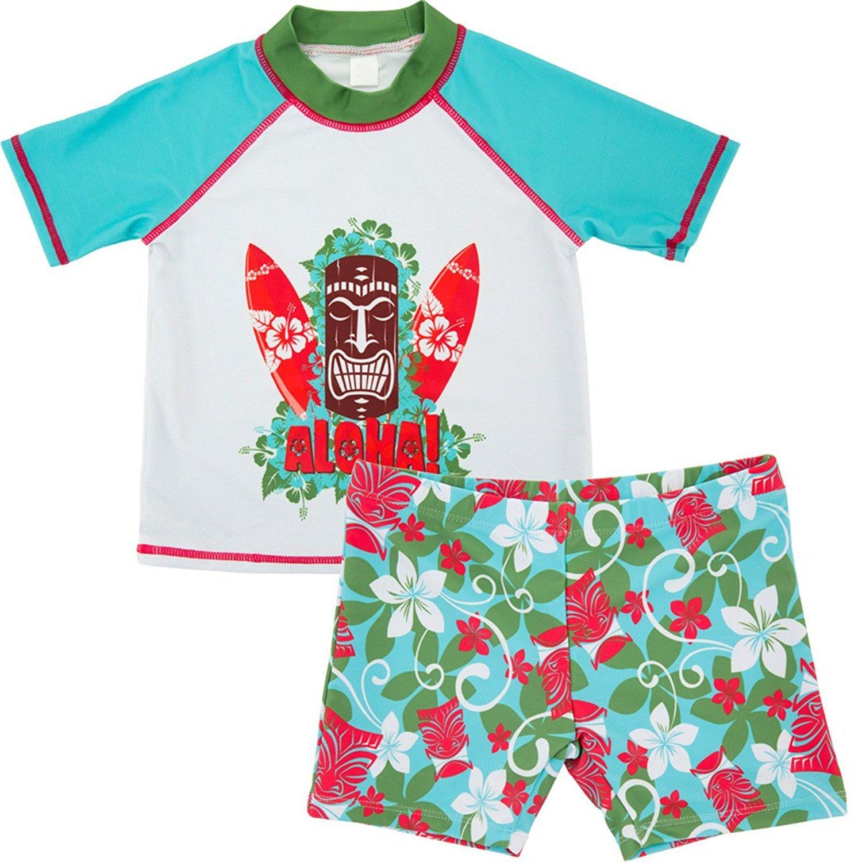 Jojobaby Baby Kids Boys Toddler Two Pieces Short Sleeve Cartoon Animal Quick Dry Sun Protection Swimsuit Swimwear