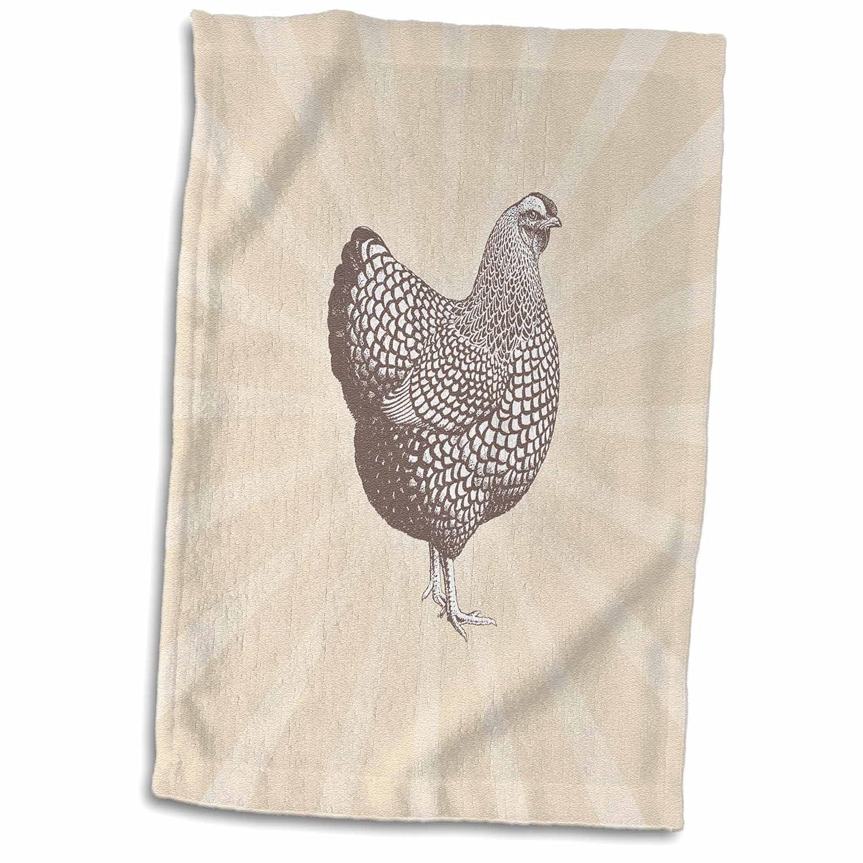 3D Rose Large Brown Speckled Hen Over Tonal Sunrise Background Hand Towel 15 x 22 Multicolor
