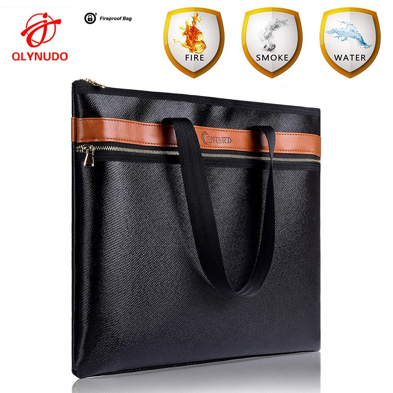 FIRESAFE Large Fireproof Safe Document Bag 15''x12''x2'' 2300°F   Double Layers  Zipper Closure  Silicone Coated  Non-Itchy  Certificated Fire Resistant Bag for Valuables (Black)