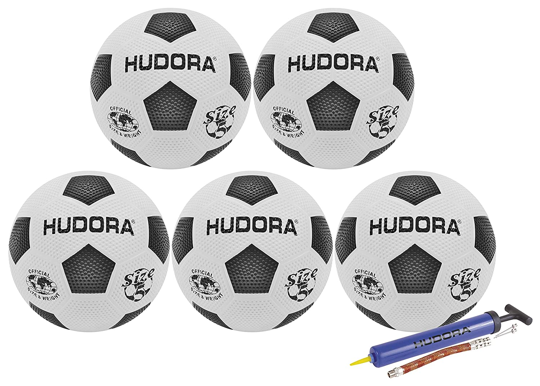 Hudora Street - Balón de fútbol (Goma, tamaño 5), Bälle + Pumpe ...